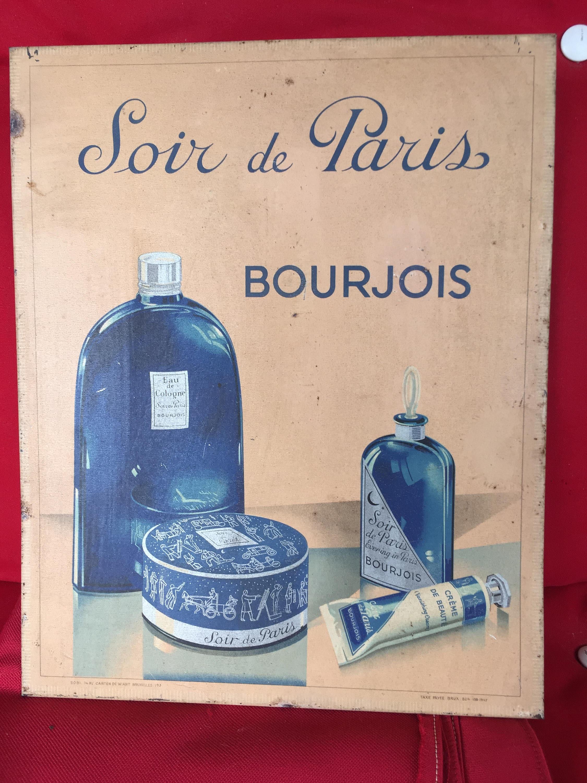 Plv Ancienne Publicité En Tôle Carton Parfum Bourjois Soir De