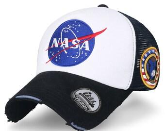 ililily NASA Meatball Logo Embroidery Baseball Cap Apollo 1 Patch Trucker  Hat c0dd3726fb21