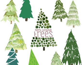 Merry Little Christmas Trees - 11 PNG Images