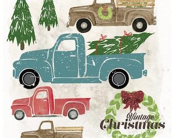 Vintage Christmas Clip Art Set- 6 PNG Images