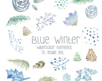 Blue Winter - 21 PNG Images - Instant Digital Download