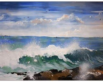 Seascape,Paper,13X20 inches,original,Acrylic,Living room,