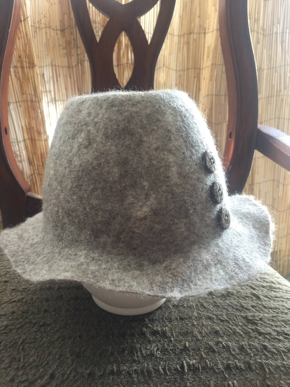 fc6a59f0bca281 Felted wet felted hat hand made natural woolmerino wool | Etsy