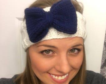 White Headband with Navy Bow