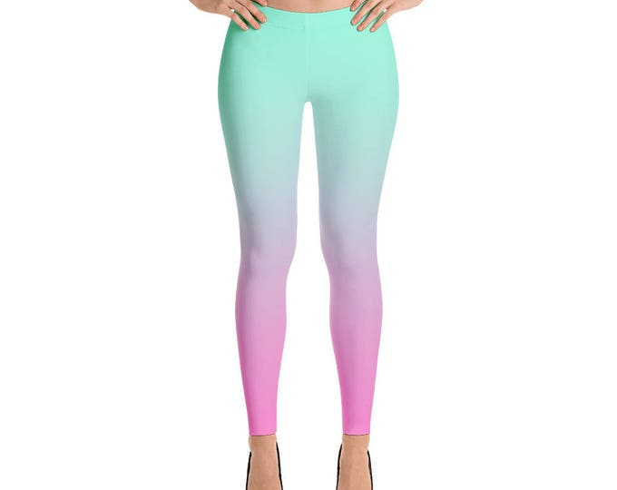 leggings ombre green and rose