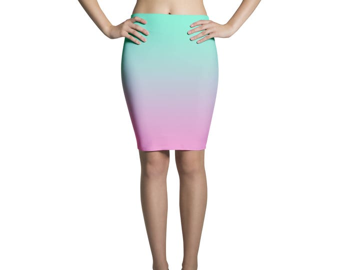 Pencil skirt midi degradé green and rose