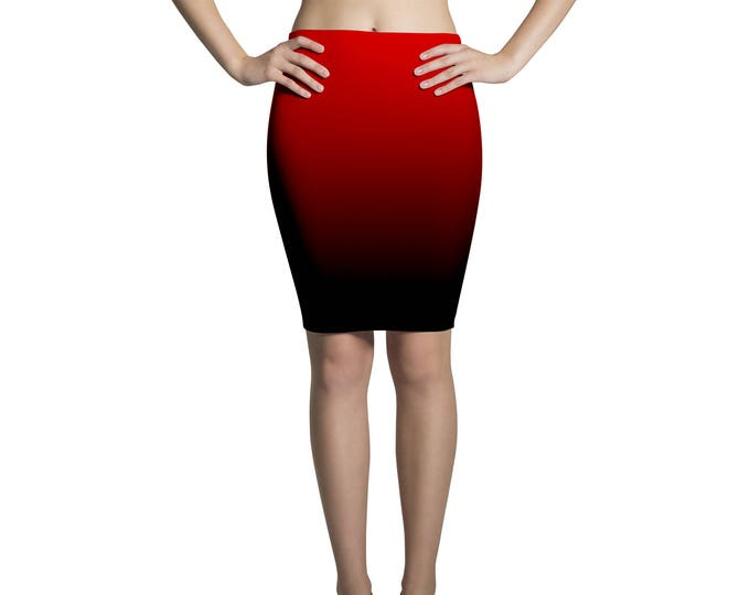 Pencil skirt midi degradé black and red