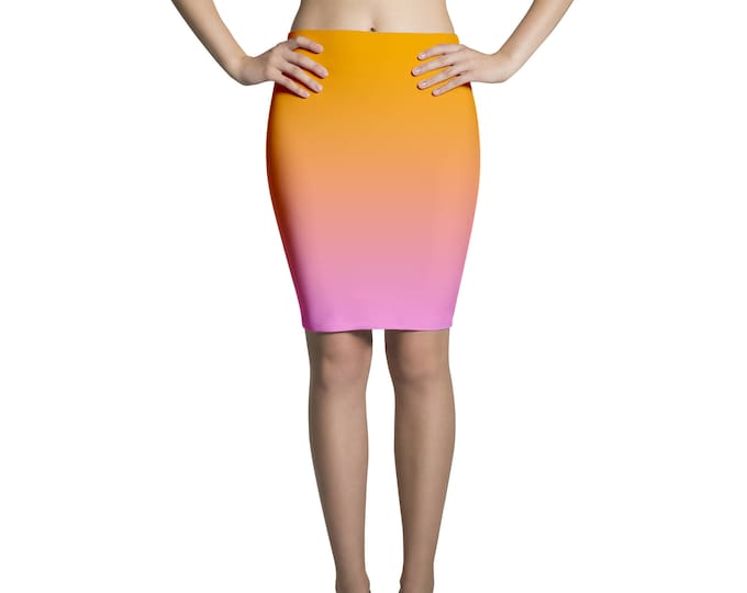 Pencil skirt midi degradé rose and orange