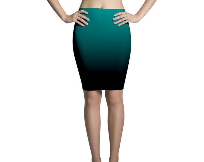 Pencil skirt midi degradé green and black