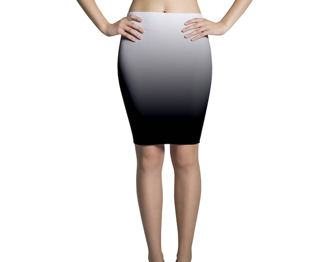 Pencil skirt midi degradé black and white
