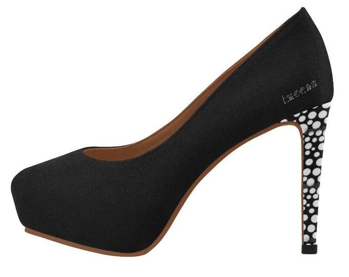 High shoes décolleté with platform polka dots IMOANA.