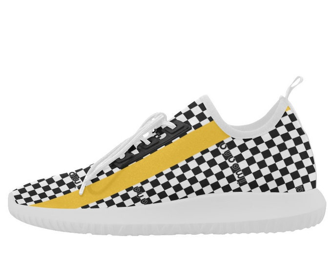 Yellow and black chess ultra-light sneakers by IMOANA.