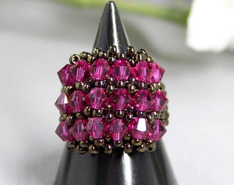 Swarovski Fuschia Purple Rhodolite Crystals Handmade Band Ring. Beaded Ring for Her. Statement Ring. Swarovski Jewellery. Magenta Ring.