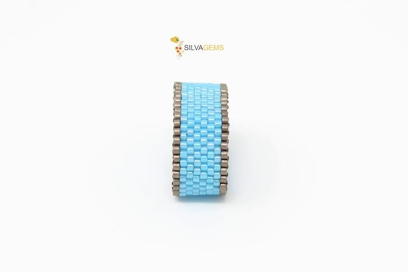 Bright Baby Blue Ring. Sky Blue Thumb Ring Satin Blue and Matte Metallic Grey Band Beaded Handmade Ring