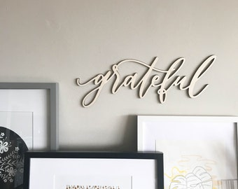 grateful | lasercut wall decor | 6MM Baltic Birch | wall hanging