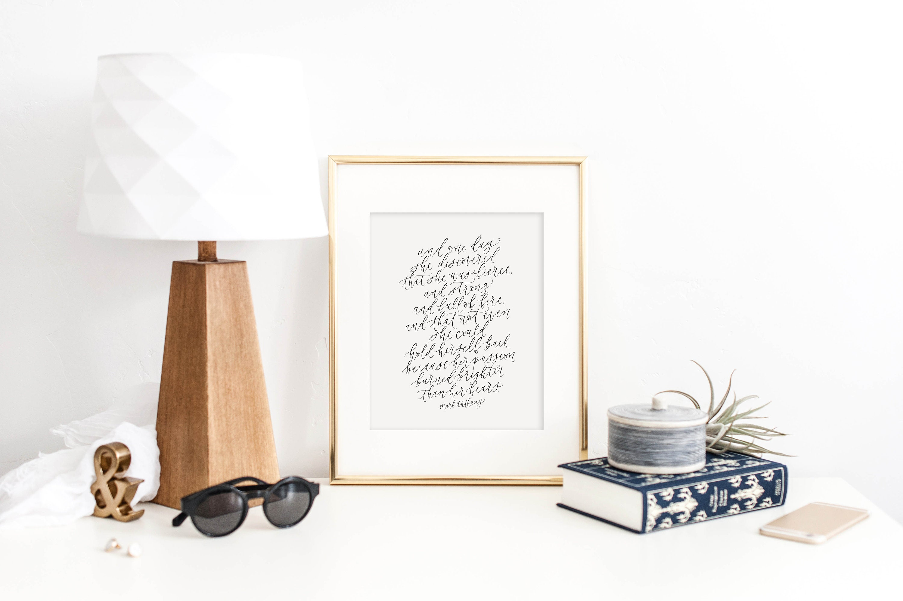 And One Day She Discovered Mark Anthony Calligraphy Print Etsy