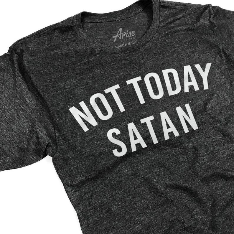 03ab81df9 Christian T Shirts Not Today Satan Funny Baptism Gift | Etsy