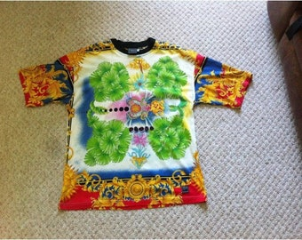 02ddf6c739aa Sale • VERSACE t shirt by Versace Jeans Couture t shirt Baroque Miami prints  extremely rare vintage versace rare prints miami