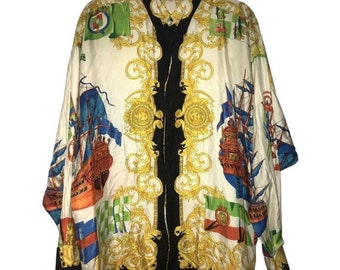 ada7b62333d3 Sale • GIANNI VERSACE shirt by Gianni Versace shirt gold baroque prints  floral miami classic Versace extremely rare vintage Versace shirt