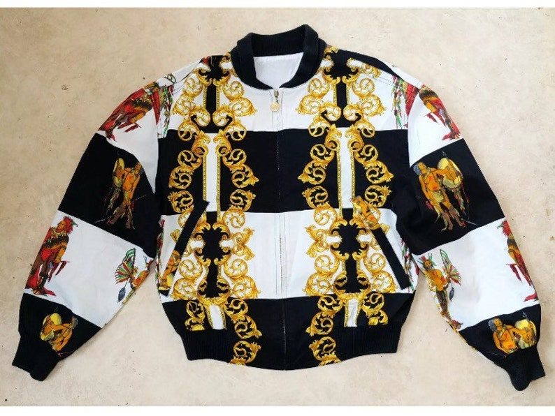 7f7ef25e0 Sale • VERSUS by Gianni Versace jacket gold baroque bomber jacket extremely  rare vintage Versus native prints Jacket Made in Italy
