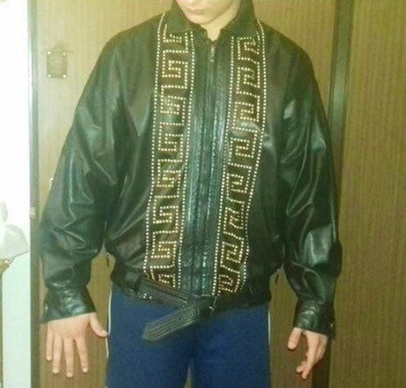 Sale Gianni Versace Leather Jacket By Gianni Versace Leather Etsy
