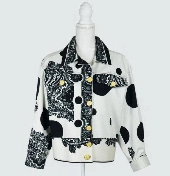 design de qualité ce897 3b0d9 Vente • veste VERSACE Versace jeans couture blouson détaillé Logo VERSACE  versace or boutons baroques imprime