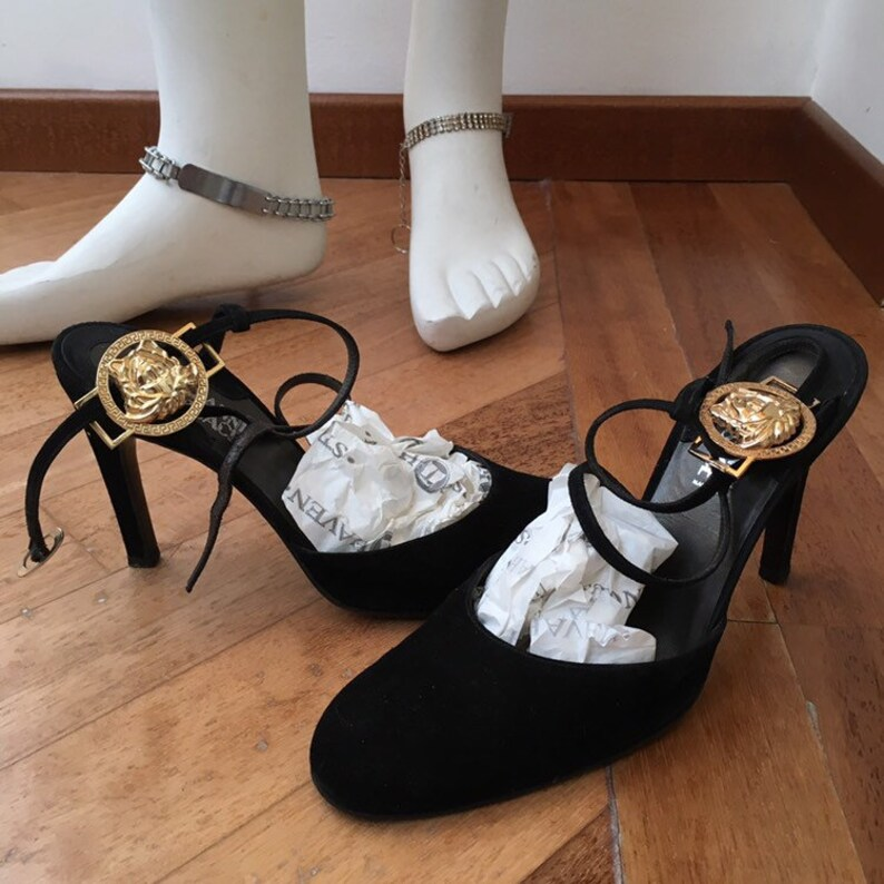 official photos lower price with street price Sale • GIANNI VERSACE shoes by Gianni versace 10cm high heels shoes gold  medusa logo details high heels Extremely rare versace décolleté