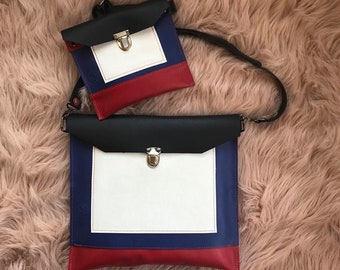 Black, Blue, Red and White Leather Messenger Computer Bag with a Matching Wristlet
