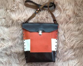 Chestnut Brown, Bright Orange and Pebble White Leather Crossbody Valz Shoulder Bag
