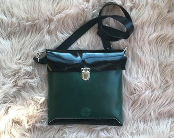 Medium Square Forest Green and Patent Black Cross-body Bag/Purse