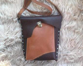 Brown Color Pop Leather Crossbody Valz Shoulder Bag
