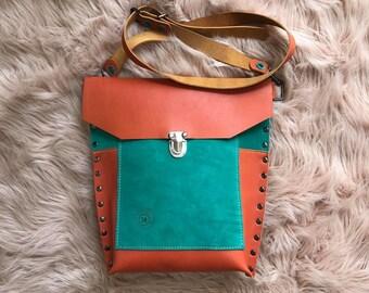 Orange and Aqua Teal Leather Crossbody Valz Shoulder Bag