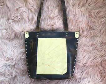 Crazyhorse Brown and Banana Montana Yellow Valz Leather Shoulder Bag