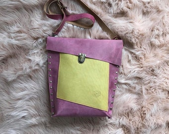 Dusty Pink and Mellow Yellow Leather Crossbody Valz Shoulder Bag