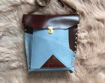 Royal Baby Blue and Chestnut Brown Leather Crossbody Valz Shoulder Bag