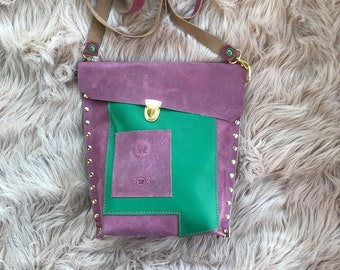 Dusty Pink and Pebble Green Leather Crossbody Valz Shoulder Bag
