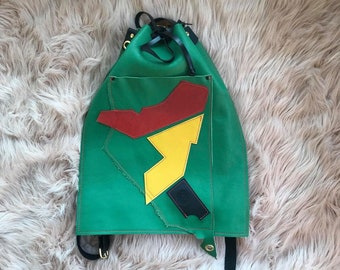 Africa Leather Backpack Rustic Green & Bright White