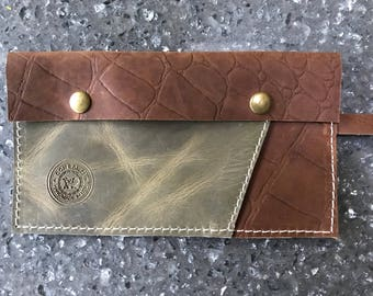 Olive Green Pull up Leather and Brown Crocodile Print Leather Clutch, Wistlet, Purse Insert