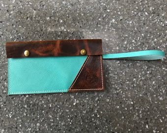 Aqua and Brown Pull up Leather Clutch, Wistlet, Purse Insert