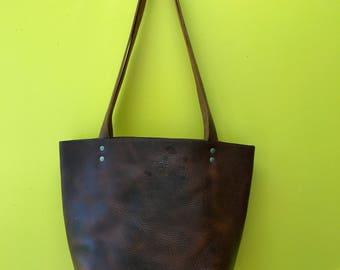 Medium Size Chestnut Brown Leather Tote Bag