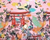 Fabric HY Sushi Roll Japanese Garden Koi Fish pond . Lost in Tokyo. Alexander Henry. Licensed Novelty Print Cotton Fabric