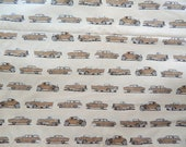 Fabric. Beige. American Legend Trucks, Pick ups, cars, automobile. Old Guys Rule Robert Kaufman Licensed Novelty Print Cotton Fabric QTR