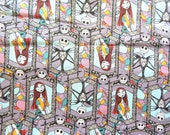 Fabric. Sally and Jack Stained Glass. Nightmare before Christmas. Disney. Springs Creative. Licensed Novelty Cotton Fabric QTR