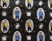 Fabric Star Trek. Captain Kirk, Mr Spock, USS Enterprise crew. Sold out. Very hard to find. Camelot Licensed Novelty Cotton Fabric QTR