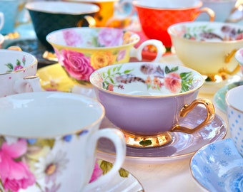Tea Set. Mismatched Tea Cups and Saucers. Party favors Birthday, Bridal Shower, New Baby Tea Party, with spoon, napkin, tea pack, gift box
