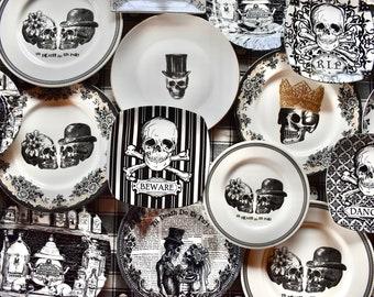 Skull Plates. Set of 6 mismatched china, porcelain dishes. Skeleton Skulls Dia de los Muertos party. Wedding rehearsal dinner, Luncheon