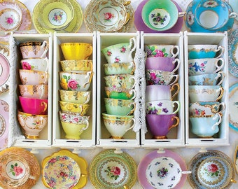 Mismatched Tea Cups and Saucers. Party favors for Birthday, Bridal Shower, Baby Shower, Garden Party, with tea, spoon, napkin and gift box