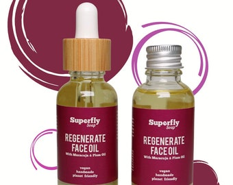 Regenerate Face Oil 30ml with Maracuja & Plum Oil / Face Serum / Zero Waste / Superfly Soap