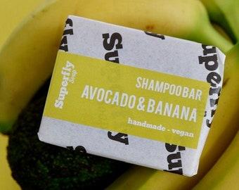 Avocado & Banana Solid Shampoo Bar UK 100g-110g / SLS free Shampoo / Plastic Free / Zero Waste / Natural Vegan Soap Artisan / Superfly Soap