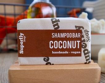 Coconut Solid Shampoo Bar UK 100g-110g / SLS free Shampoo / Plastic Free / Zero Waste / Natural Vegan Soap Artisan / Superfly Soap